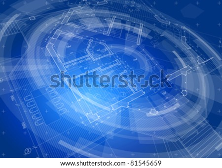 Architecture design: blueprint house plan & blue technology radial background - vector illustration. Eps 10