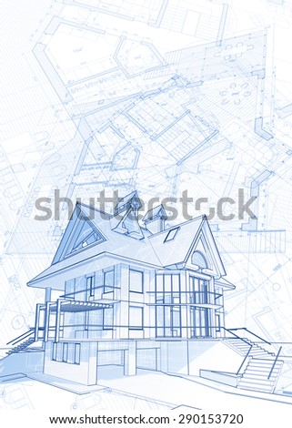 Architecture design blueprint house vector illustration stock architecture design blueprint house vector illustration stock images page everypixel malvernweather Choice Image