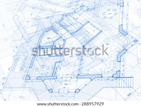 Architecture design: blueprint - vector illustration