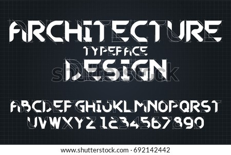 Architecture draft drawing set style technology and modern.Decorative alphabet vector fonts and numbers.Typography design for headlines, labels, posters, logos, cover, etc.