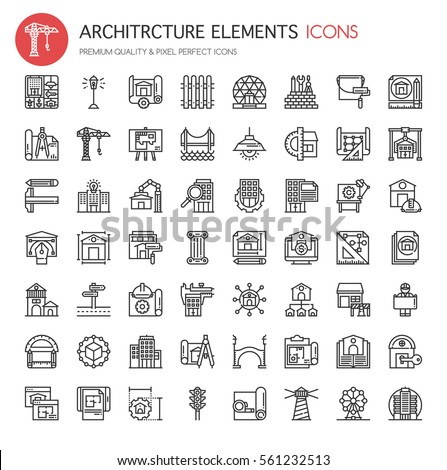 Architecture Elements , Thin Line and Pixel Perfect Icons