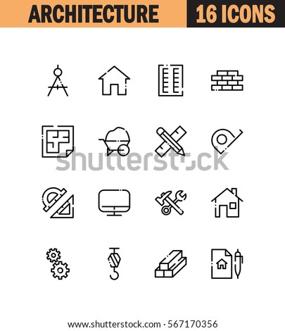Architecture flat icon set. Collection of high quality outline symbols for web design, mobile app. Architecture vector thin line icons or logo.