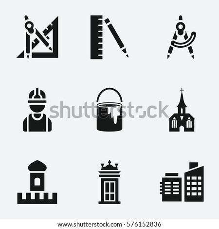 architecture icon set of 9