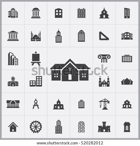 architecture icons universal set for web and mobile