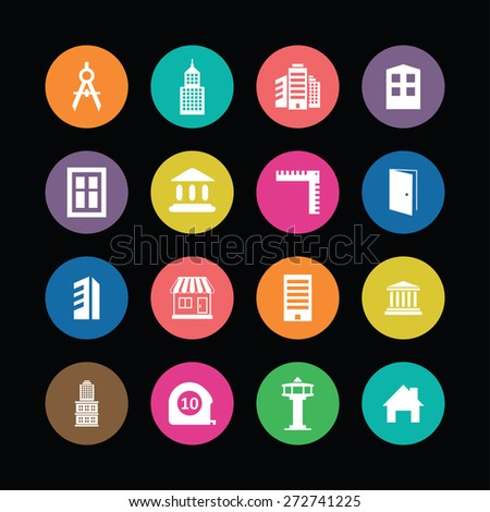 architecture icons vector set