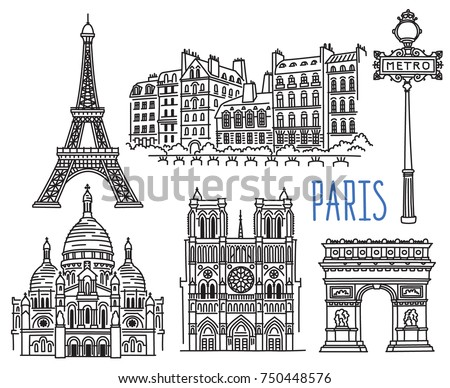 Architecture, landmarks and monuments of Paris. Vector drawing isolated on white background