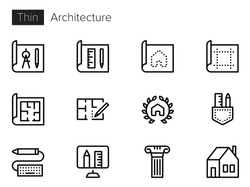Architecture Line Vector icons set