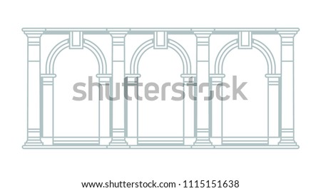 Architecture part of the National Library of St Mark's in Venice. Three arches with columns. Graphic. Vector, isolated.