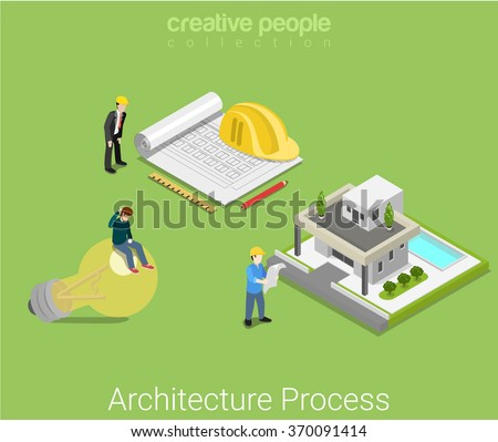 Architecture plan process. Idea sketch architectural plan ready house villa. Flat 3d isometry isometric construction business concept web vector illustration. Creative people collection.
