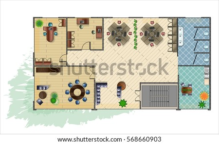 Modern Furniture Top View architecture plans furniture icons - download free vector art
