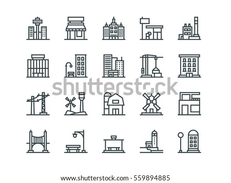 Architecture. Set of outline vector icons