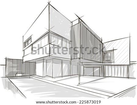 Architecture sketch - Shutterstock ID 225873019