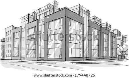 Architecture sketch drawing of building city stock for Cheap architectural drawings