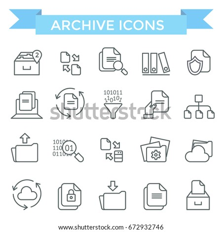 Archive and document flow icons