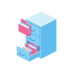 Archive isometric 3d icon. Creative illustration idea.