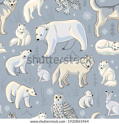 arctic animals north seamless