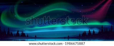 Arctic aurora borealis over night lake in starry sky, polar lights natural landscape. Northern amazing iridescent glowing wavy illumination shining above water surface, Cartoon vector illustration Foto stock ©