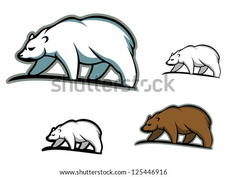 Arctic bears in cartoon style for mascot or emblem design, such as idea of logo. Jpeg version also available in gallery