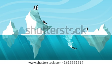 Arctic daytime landscape showing white icebergs floating in the ocean. Penguins roll off an iceberg like a slide and dive into the water. One penguin is swimming underwater. Vector. Wildlife scene