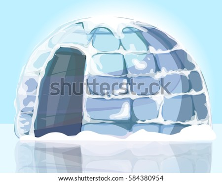 arctic ice house igloo  vector