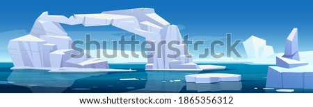 Arctic landscape with melting iceberg and glaciers floating in sea. Concept of global warning and climate change. Vector cartoon illustration of polar or antarctic ice in blue ocean water