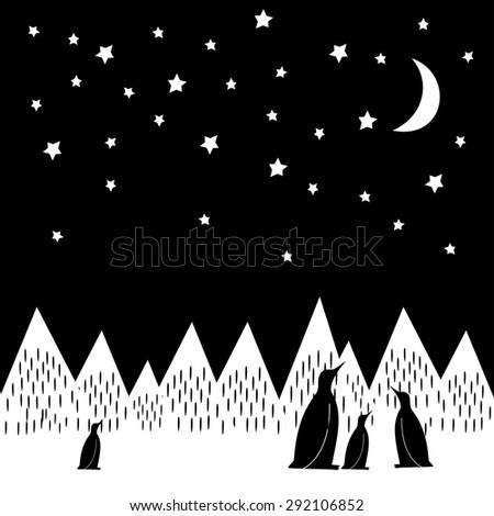 arctic night vector