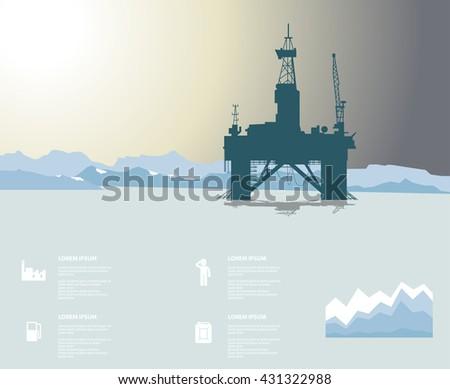 arctic oil platform infographic
