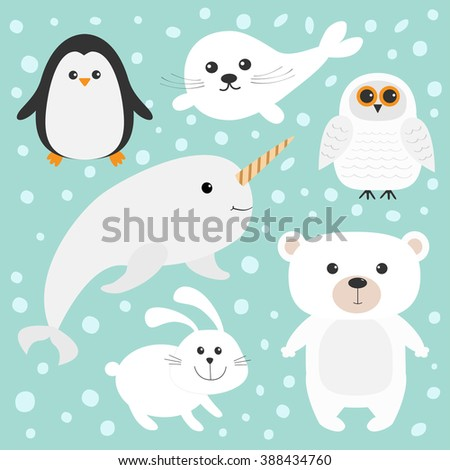 arctic polar animal set white