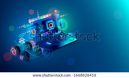 Arduino DIY robot connection with laptop. Programming of microcontroller of electronic toy moving platform with AI. Education teens to engineering construction, coding microchips. Learning of kids
