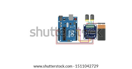 Arduino interfacing with L293D Motor driver IC Sketch Diagram, the arrangement consist of two DC motor  arduino through motor driver IC (L293D),