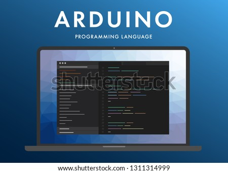 Arduino programming language. Learning concept on the laptop screen code programming. Command line Arduino interface with flat design and gradient purple background.