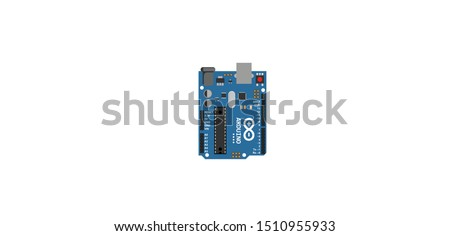 Arduino Uno R3 detailed top view illustration