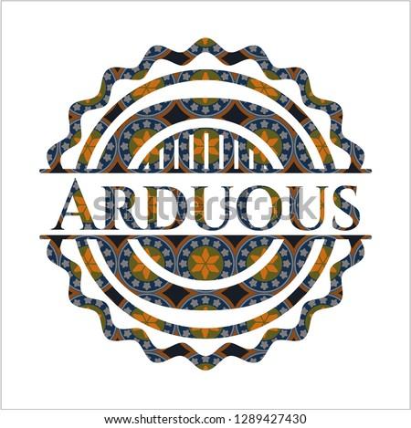 Arduous arabesque badge. arabic decoration.