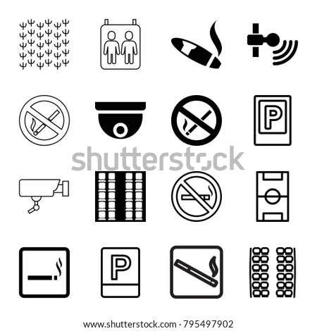 Area icons. set of 16 editable filled and outline area icons such as smoking area, signal, parking, no smoking, plane seats, football pitch, cigarette, security camera, field