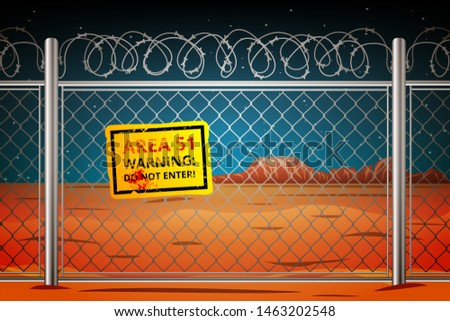 Area 51 in Nevada behind barbed wire with a sign of danger not to enter. Vector illustration in cartoon style.