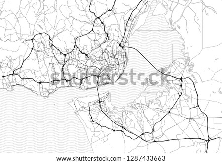 Area map of Lisbon, Portugal. This artmap of Lisbon contains geography lines for land mass, water, major and minor roads.