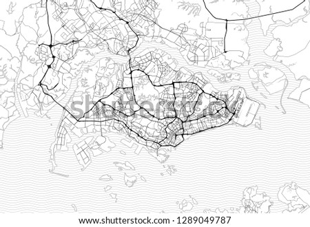 Area map of Singapore, Singapore. This artmap of Singapore contains geography lines for land mass, water, major and minor roads.
