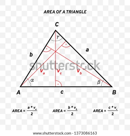Area of a triangle. Mathematical formula and construction. Line design. Vector illustration isolated on transparent background