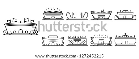 Arena sports stadium icon set. Outline set of arena sports stadium vector icons for web design isolated on white background