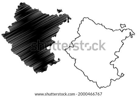 Arezzo province (Italy, Italian Republic, Tuscany or Toscana region) map vector illustration, scribble sketch Province of Arezzo map ストックフォト ©