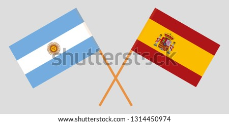 Argentina and Spain. The Argentinean and Spanish flags. Official colors. Correct proportion. Vector illustration