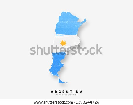 Argentina detailed map with flag of country. Painted in watercolor paint colors in the national flag.