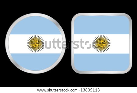 Argentina Flag- two icon on black background. Vector illustration