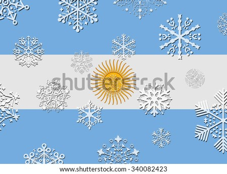 argentina flag with snowflakes
