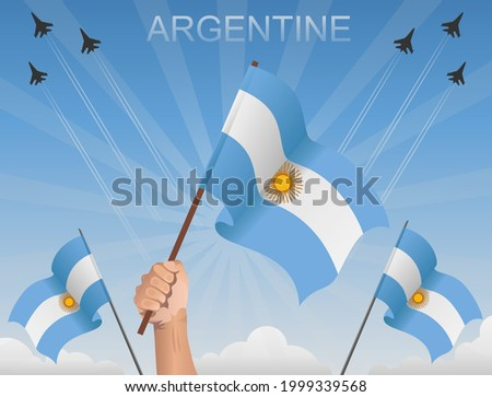 argentina flags flying under