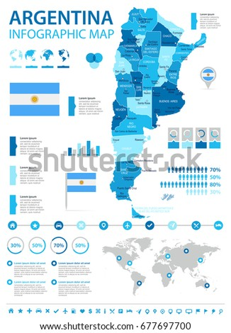 argentina info graphic map and