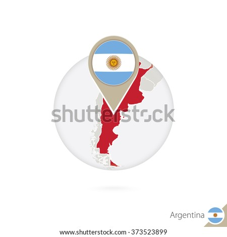argentina map and flag in