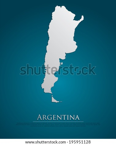 argentina map card paper 3d