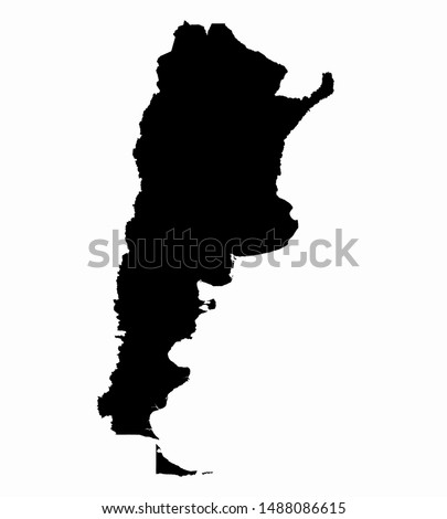 Argentina Map Flat Icon Vector Black Isolated in White Background