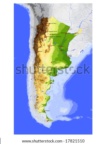 Argentina. Physical vector map, colored according to elevation, with rivers, ocean depths and selected cities. Surrounding territory greyed out. 35 layers, fully editable. Data source: NASA